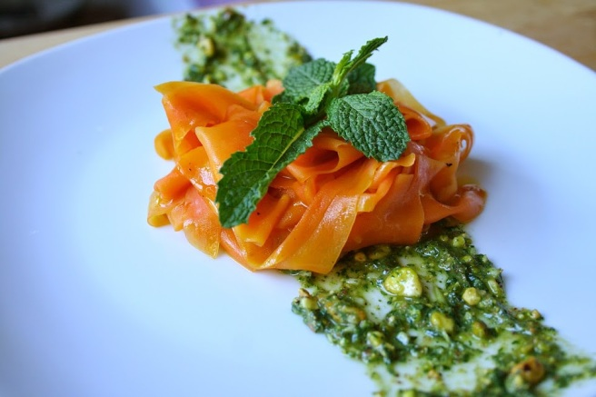 Shaved Carrot Salad with Mint Pesto